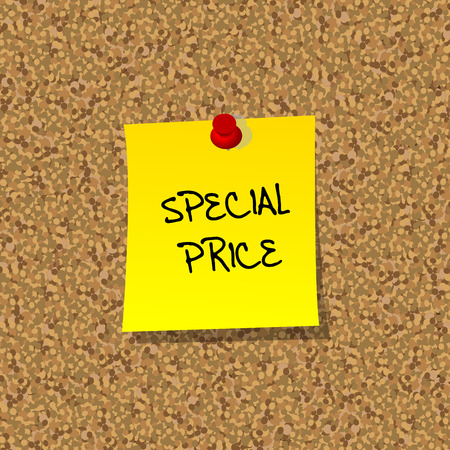 special price: Yellor stick note paper with words SPECIAL PRICE pinned on cork board with red pin Illustration