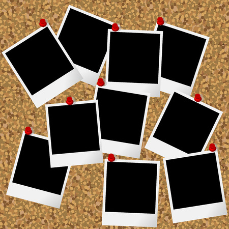 pictures: Blakn photo frames hanging on cork board with pushpins