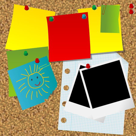 Cork message board with various paper notes and blank instant photo frames Vector