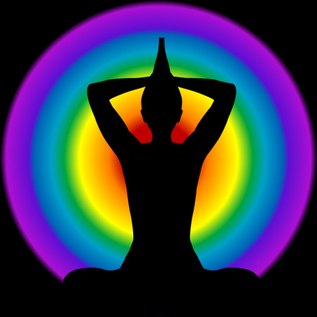 Human silhouette in yoga pose with aura and chakras colors on background