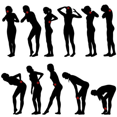 ragazza malata: Sagome di donne con differenti posizioni di dolore Vettoriali