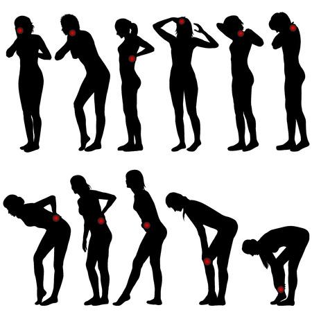 femme dessin: Silhouettes de femmes avec des endroits diff�rents de la douleur Illustration