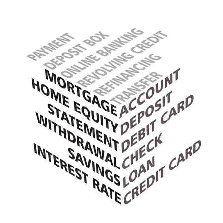 bank statement: 3D cube typography with banking terms