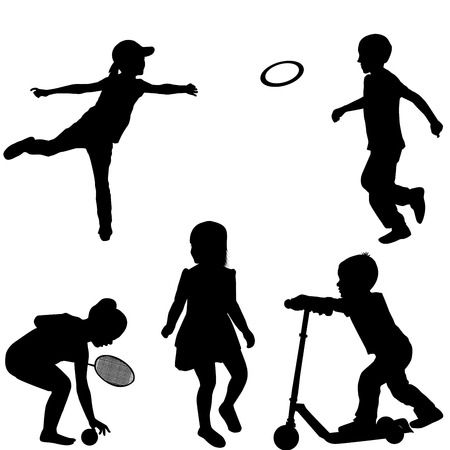 young people fun: Silhouettes of children playing