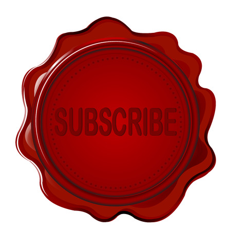 wax stamp: Wax seal with word SUBSCRIBE