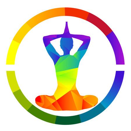 yogi aura: Yoga icon isolated over white background