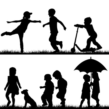 young people fun: Children silhouettes playing