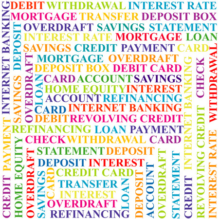 refinancing: Colorful background with bank terms