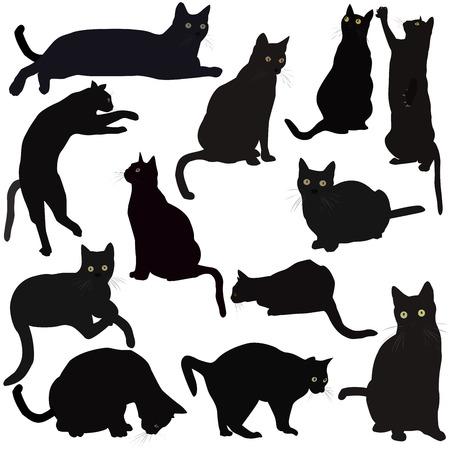 Gatos negros siluetas Foto de archivo - 39682405