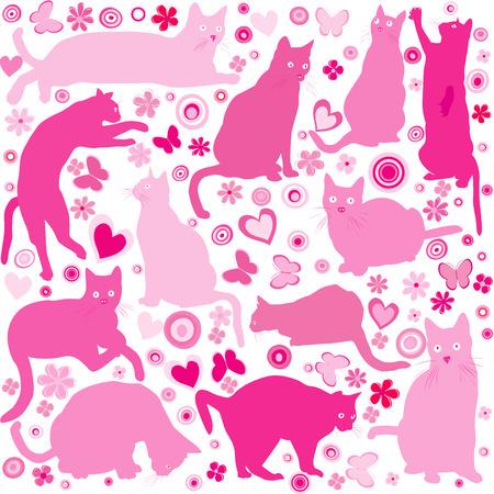 b�b� filles: B�b� filles fond avec des chats