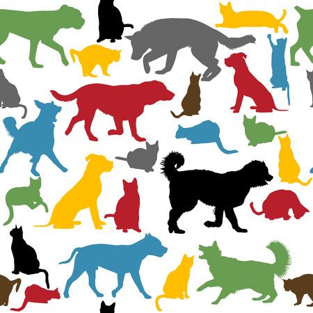 Fondo inconsútil con los gatos y los perros siluetas coloridas Vectores