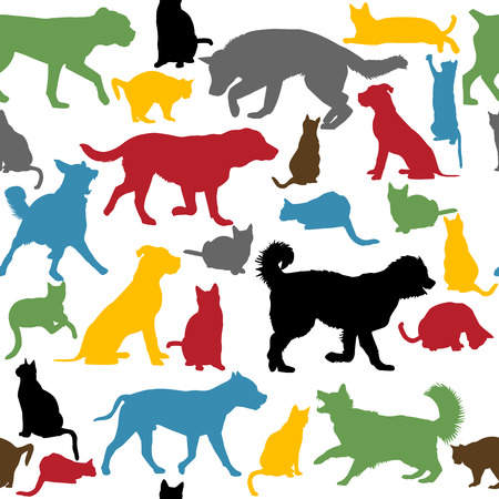 child and dog: Seamless background with colorful cats and dogs silhouettes