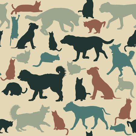 child and dog: Vintage seamless background with cats and dogs silhouettes