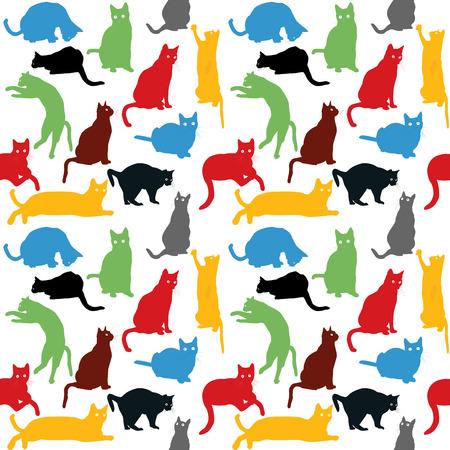 Naadloos met kleurrijke katten silhouetten, achtergrond voor kinderen Stock Illustratie
