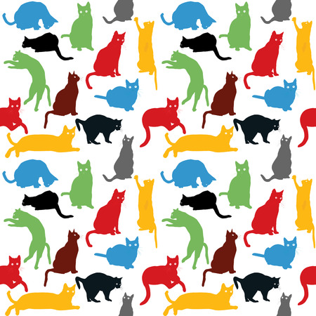 animal pussy: Seamless with colorful cats silhouettes, background for kids