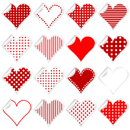 wallpapaer: Collection of cute hearts stickers with twisted corner