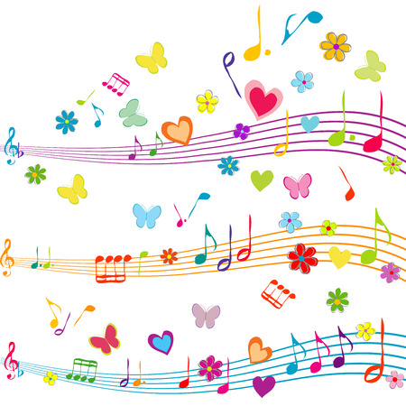 stave: Colorful music design with stave, butterflies, hearts and flowers