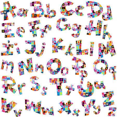 Letters of alphabet made of letters pattern Vektoros illusztráció