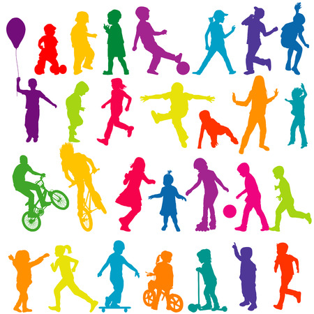 Set of colorful silhouettes of active children