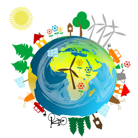 energy sources: Ecological concept with Earth globe and alternative energy sources Illustration