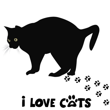 cat alphabet: I love cats card with black cat silhouette and paws print Illustration