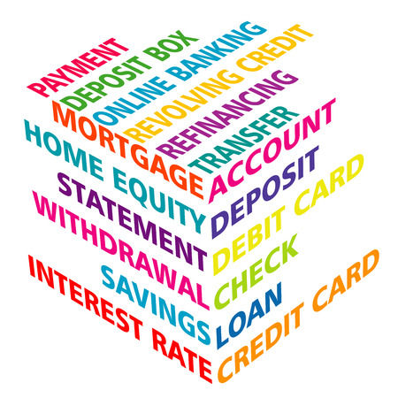 refinancing interest rates: 3D typography with banking terms Illustration