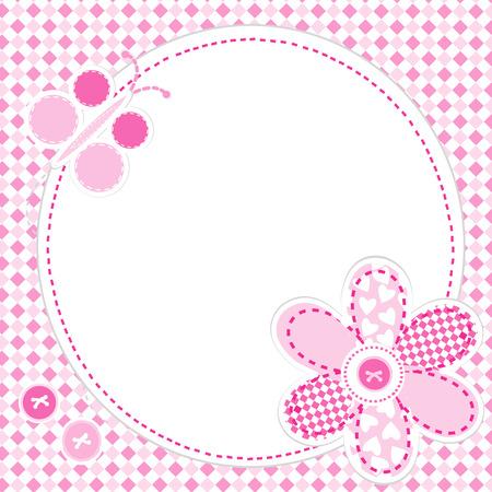 꽃과 나비와 함께 아기 소녀 인사말 카드 일러스트