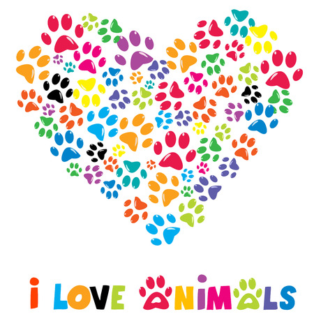 Colorful heart with animals footprints and text I love animals Vectores