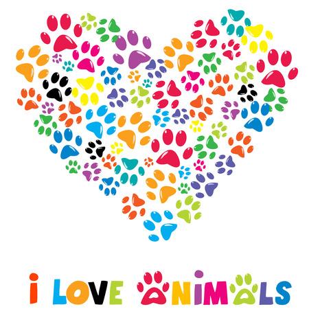 huellas de perro: Corazón colorido con animales huellas y el texto me encantan los animales