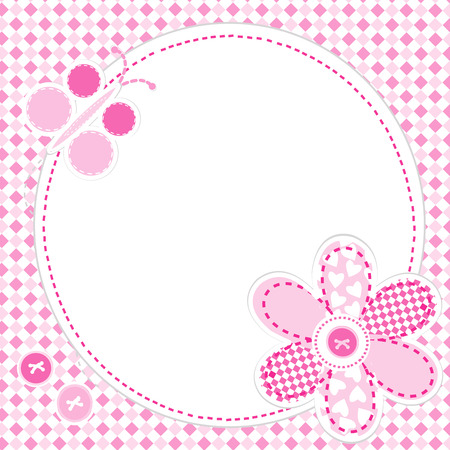 baby stickers: Baby girl greeting card with flower and butterfly
