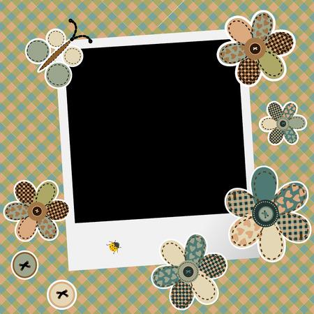 photoframe: Vintage design background for scrapbook with photo frame