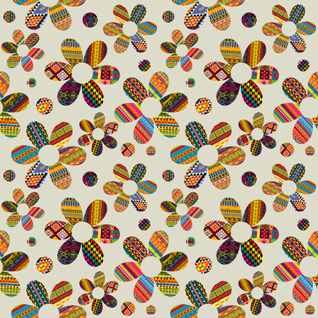 patterned: Seamless pattern with ethnic motifs patterned flowers