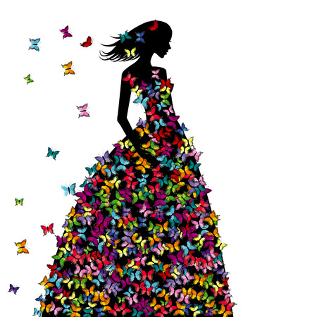 Silhouette of woman in a butterflies dress Standard-Bild