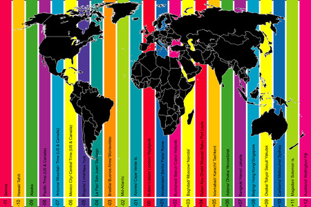 time zone: Background with world map and colorful time zones
