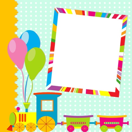 Greeting card with photo frame and cartoon train Vectores