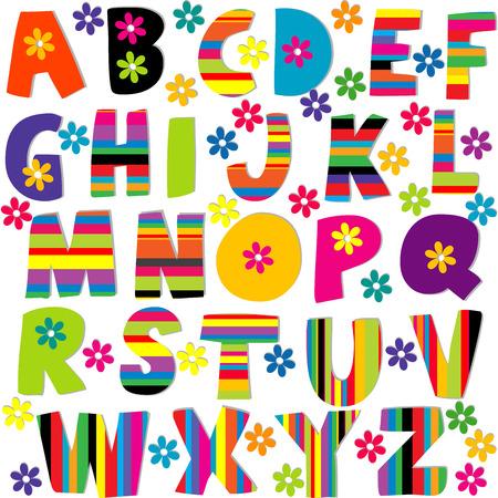 Felice set alfabeto con lettere fiori e strisce fantasia Archivio Fotografico - 40402096