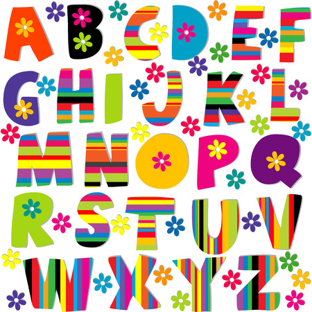 Happy alphabet set with flowers and stripes patterned letters Stok Fotoğraf - 40402096