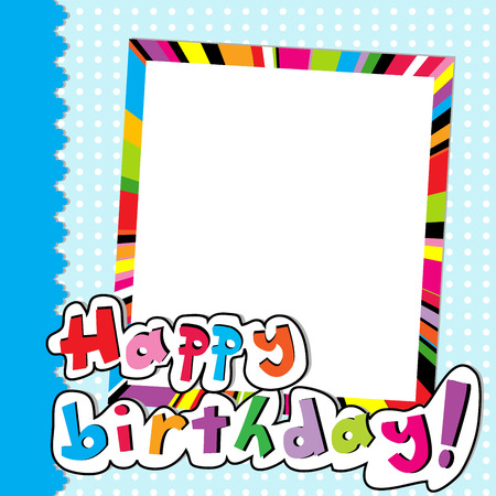 happy people: Happy Birthday scrapbook for baby boy Illustration