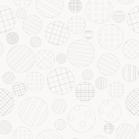 dotted lines: Geometric seamless background with dotted and striped circles Illustration