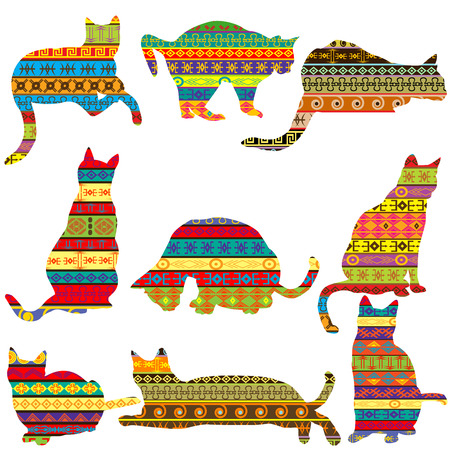 patterned: Ethnic decorative patterned cats Illustration