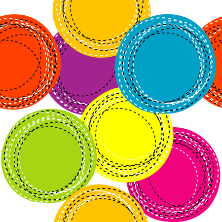 sewing pattern: Colorful seamless pattern with sewing round shapes Illustration