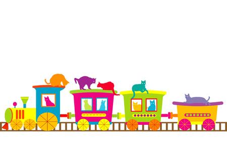 tren caricatura: Tren de la historieta con los gatos de colores