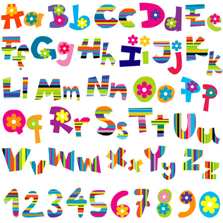 Illustration of alphabet set and numbers on white background Vector