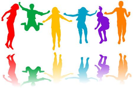 personas saltando: Conjunto de los niños de color siluetas de salto