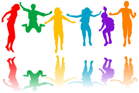 many coloured: Set of colored children silhouettes jumping