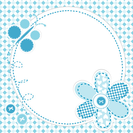 Baby boy greeting card with flower and butterfly Vector