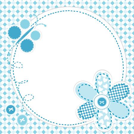 marcos decorativos: Tarjeta de felicitación del bebé con la flor y la mariposa