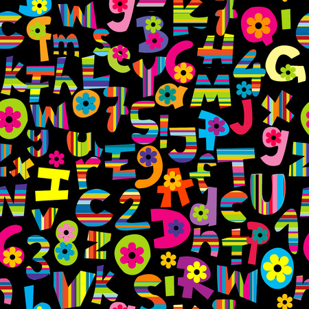 detailed: Alphabet set and numbers seamless over black background Illustration