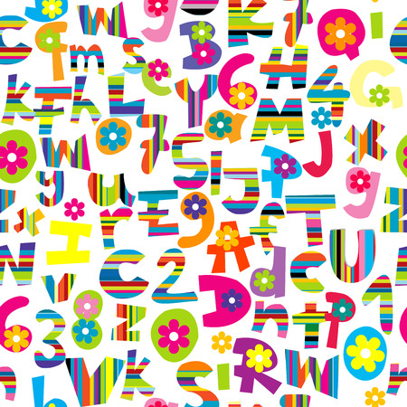 Seamless background with doodle letters and numbers Vector