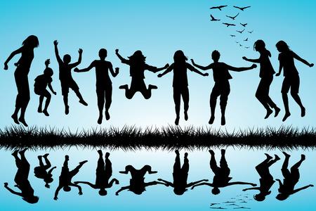 Gruppo di ragazzi e ragazze sagome saltando all'aperto Archivio Fotografico - 40961221